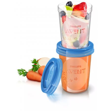 Avent  5 Recipientes + 5 Tapas 240 Ml
