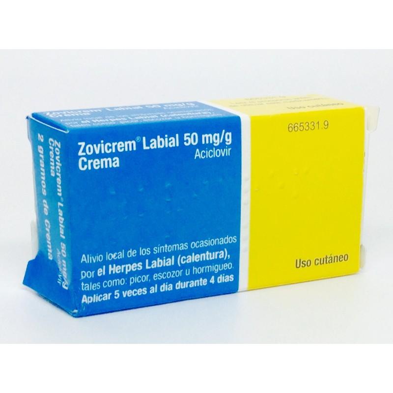 Zovicrem Labial 50 Mg/G Crema 1 Tubo 2 G