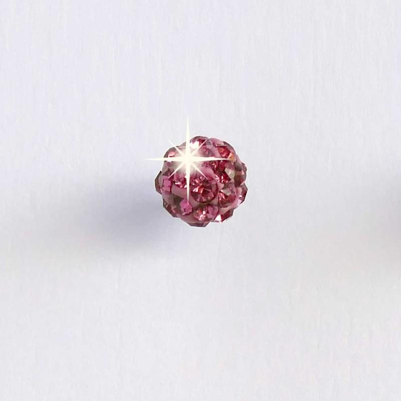 Biojoux Pendientes Bola Cristal Rosa 5 mm