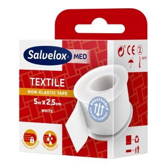 Salvelox Esparadrapo Textil Blanco 5 M X 2.5 Cm