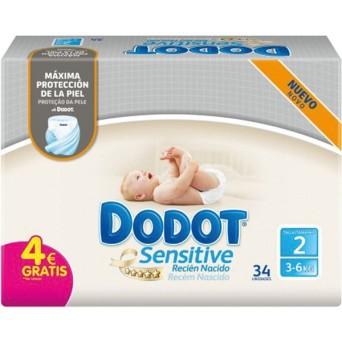 Pañal Dodot Sensitive Talla 2 4-8 Kg 34 Uds